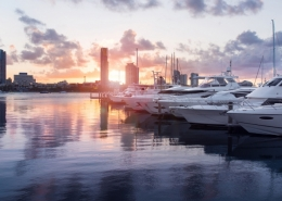 Boats in a Marina during a sunset